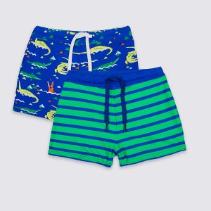 2 Pack Print & Stripe Swim Shorts (0-5 Years)