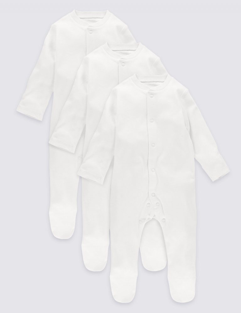 3 Pack Pure Cotton Baby Sleepsuits