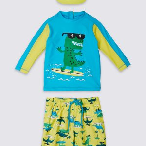 3 Piece Dinosaur Print Swim Outfit (0-5 Years)