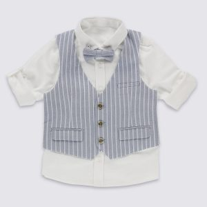 3 Piece Waistcoat & Shirt with Bow Tie (3 Months - 5 Years)
