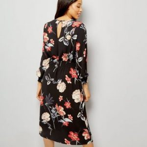 AX Paris Black Floral Print Midi Dress New Look