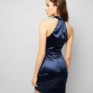 AX Paris Blue High Neck Wrap Front Dress New Look