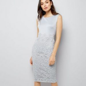 AX Paris Grey Lace Skirt Midi Dress New Look