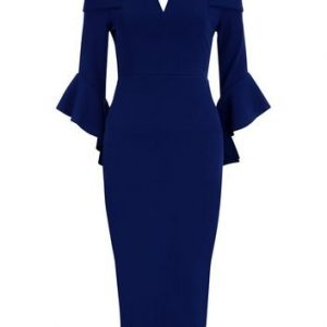 AX Paris Navy Bardot Neck Frill Sleeve Dress New Look