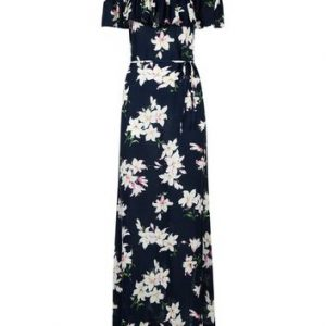 AX Paris Navy Floral Print Bardot Neck Maxi Dress New Look