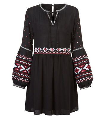 Black Embroidered Long Sleeve Dress New Look
