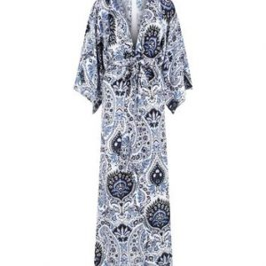 Blue Vanilla Navy Abstract Print Kimono Maxi Dress New Look
