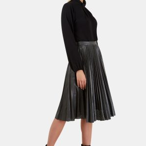 Grey Punch Hole Textured Midi Skirt