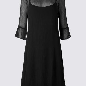 M&S Collection 3/4 Sleeve Swing Midi Dress