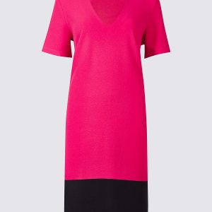 M&S Collection Colour Block Short Sleeve Tunic Dress