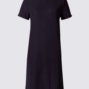 M&S Collection Contrasting Collar Short SLeeve Shift Dress