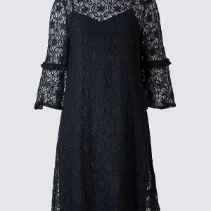 M&S Collection Cotton Rich Lace 3/4 Sleeve Swing Dress