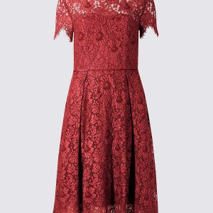 M&S Collection Cotton Rich Lace Short Sleeve Swing Dress