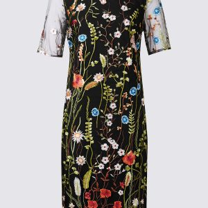 M&S Collection Embroidered Mesh Sleeve Shift Dress