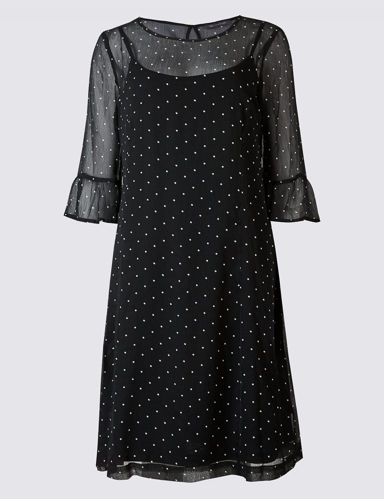 M&S Collection Spotted Flare Sleeve Swing Dress