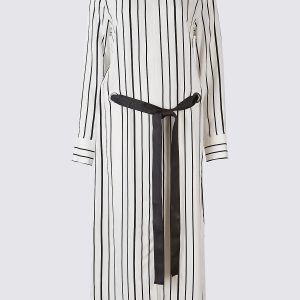 M&S Collection Striped Eyelet Shift Dress with Belt