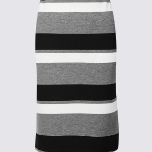 M&S Collection Striped Ponte Pencil Skirt