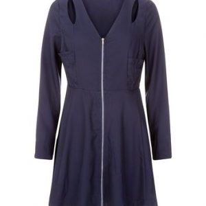 Madam Rage Navy Cut Out Zip Front Dress New Look