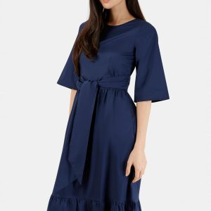 Navy Tie Front Dress with Gathered Frill Hem