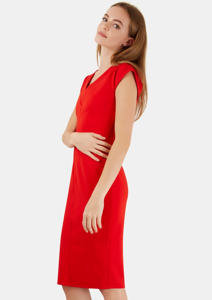 Red V Neck Bodycon Dress